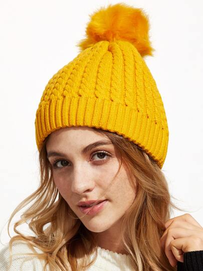 Yellow Ribbed Pom Pom Knit Hat