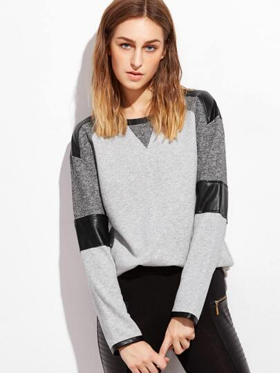 Color Block Mixed Media Drop Shoulder Sweatshirt