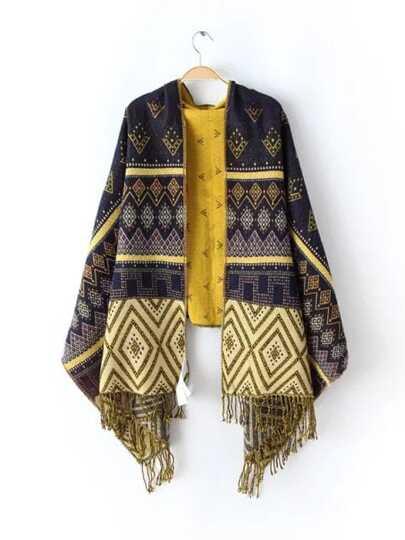 Тёмно-синий модный шарф с узором и бахромой
