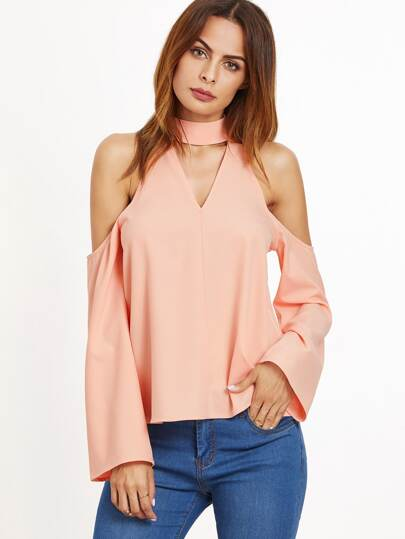 Pink Cutout Choker Cold Shoulder Top