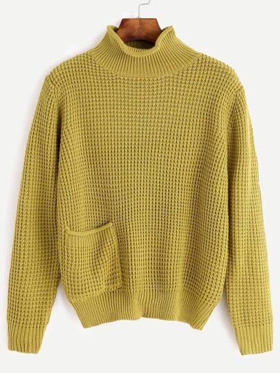 Pull tricoté avec poche - jaune