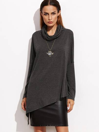 Dark Grey Cowl Neck Drop Shoulder Asymmetric T-shirt