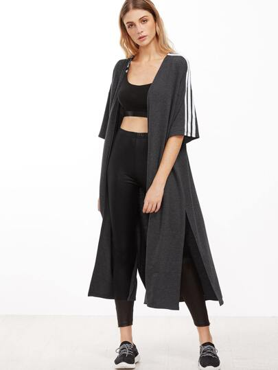 Heather Grey Striped Half Sleeve Slit Open Front Coat