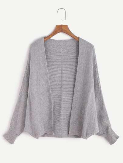 Pale Grey Open Front Dolman Sleeve Cardigan