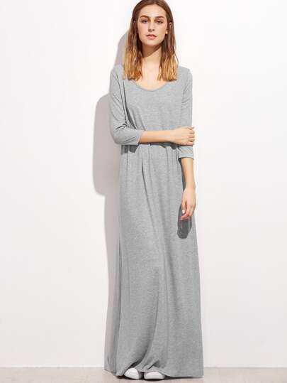 Heather Grey Double Scoop Maxi Tee Dress