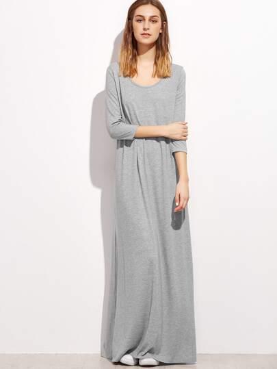 Vestido maxi casual con cuello U - gris