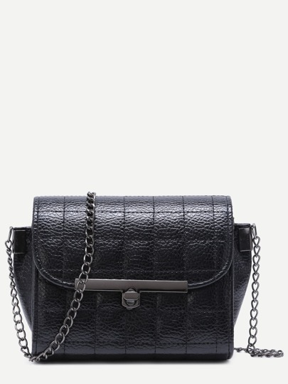 Black Quilted PU Flap Crossbody Chain Bag