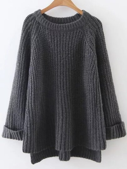 Dip Hem Ribbed Cuffed Sweater