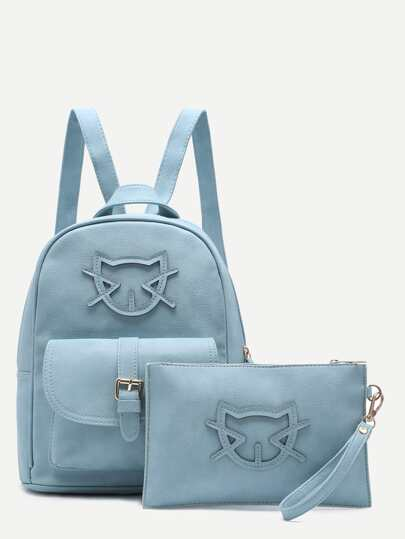 Blue Cartoon Patch Front Pocket Two Piece Backpack