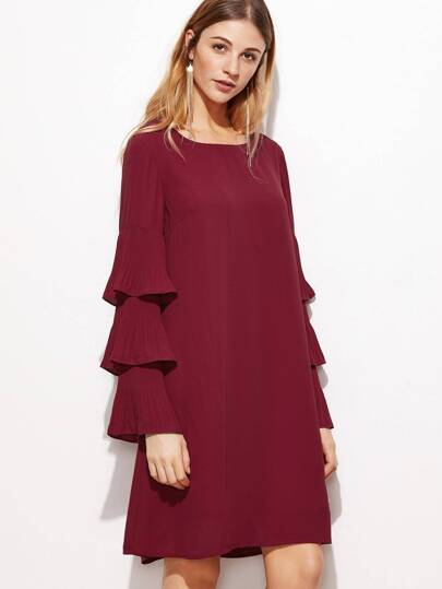 Layered Frill Sleeve Tunic Dress