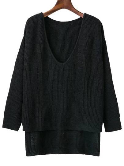 Black V Neck High Low Knitwear