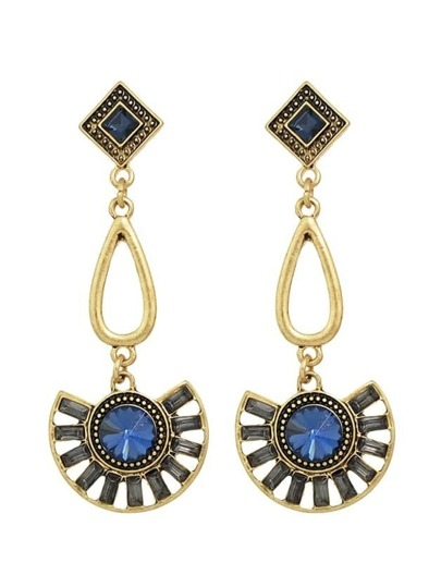 Blue Vintage Style Rhinestone Long Drop Earrings