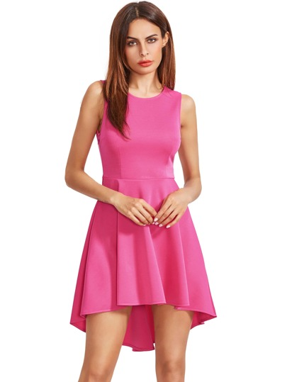 Hot Pink Sleeveless Asymmetric Hem Flare Dress