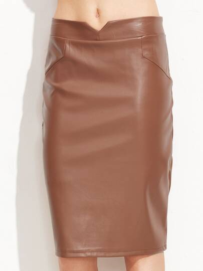 Khaki V Cut PU Pencil Skirt