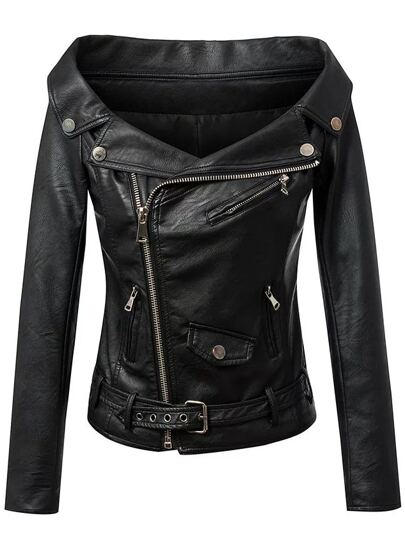Black Boat Neck Oblique Zipper PU Moto Jacket With Belt