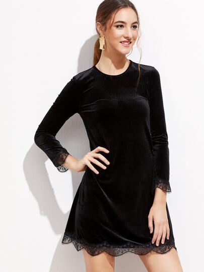 Black Eyelash Lace Trim Velvet Dress