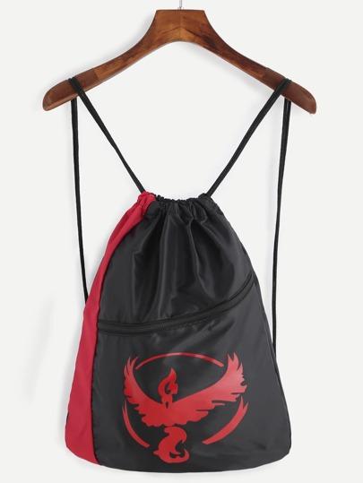 Sac en nylon imprimé logo avec boucle et lacet - rouge et noir
