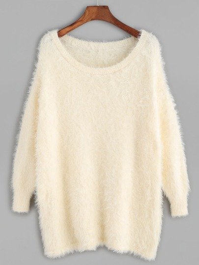 Apricot Scoop Neck Fluffy Sweater