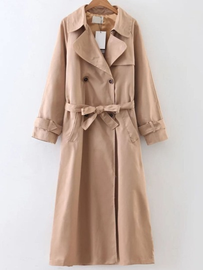 Khaki Double Breasted Self Tie Trench Coat