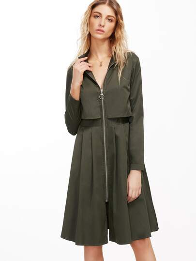 Army Green Zipper Front Pleated Dress