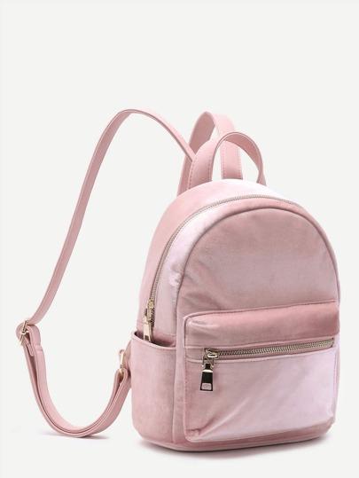 Samt Rucksack mit Reißverschluss vorne-rosa