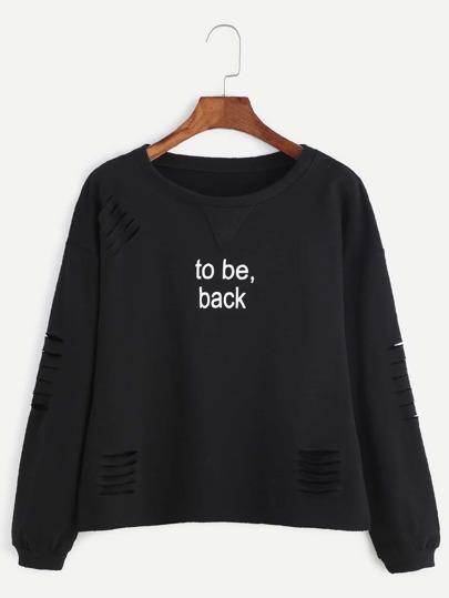 Sweat-shirt imprimé slogan - noir