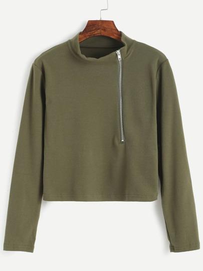 Camiseta con cremallera - verde militar