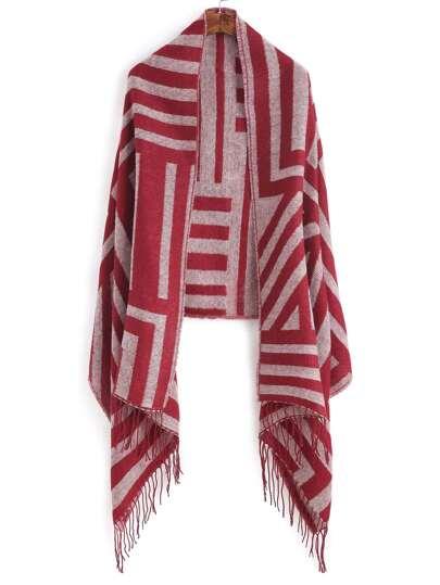 Красный полосатый шарф-накидка с бахромой