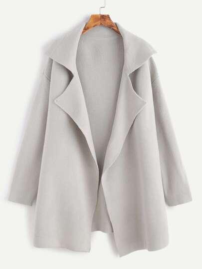 Grey Notch Collar Drop Shoulder Sweater Coat