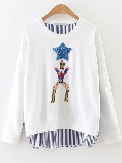White Striped Sequin Detail 2 In 1 Sweatshirt