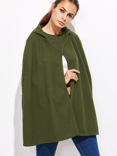 Army Green Hooded Poncho Coat