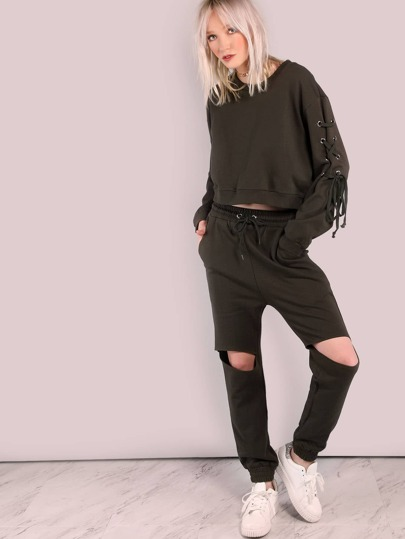 Cut Out Knee Sweatpants OLIVE