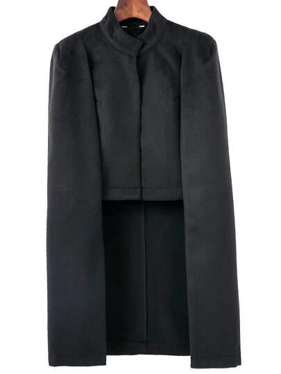 Black Stand Collar Cape Coat