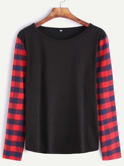 Black Contrast Plaid Sleeve T-Shirt