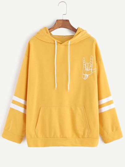 Yellow Love Gesture Print Drawstring Hooded Sweatshirt