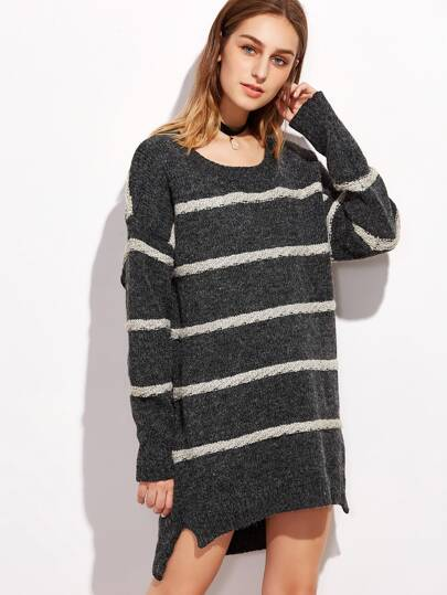 Dark Grey Striped Slit Side High Low Sweater Dress