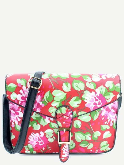 Red PU Floral Print Buckle Closure Messenger Bag