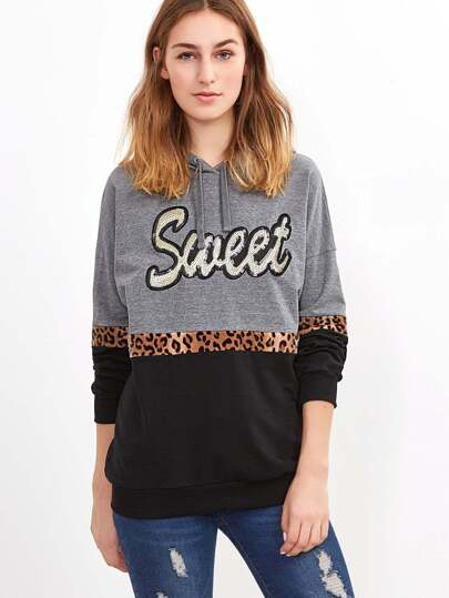 Color Block Sequin Letter Detail Hoodie