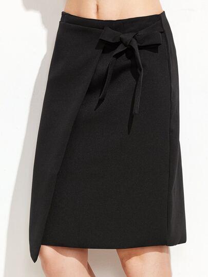 Black Bow Tie Zipper Back Skirt