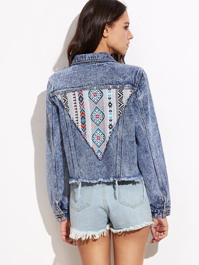 Blue Embroidered Tribal Patch Bleach Wash Frayed Denim Jacket