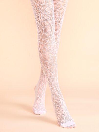 جوارب طويلة جاكار بيضاء