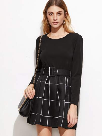 Black Grid 2 In 1 Dress With Belt