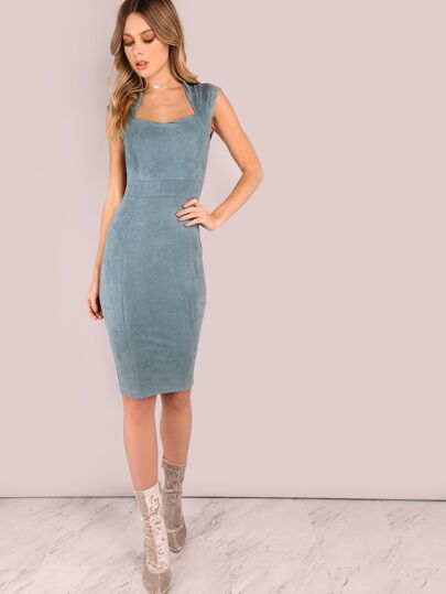 Suede Queen Anne Midi Bodycon Dress BLUE GREY