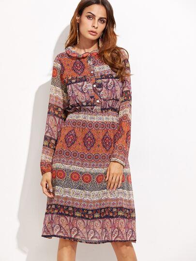 Paisley Print Elastic Waist Chiffon Shirt Dress