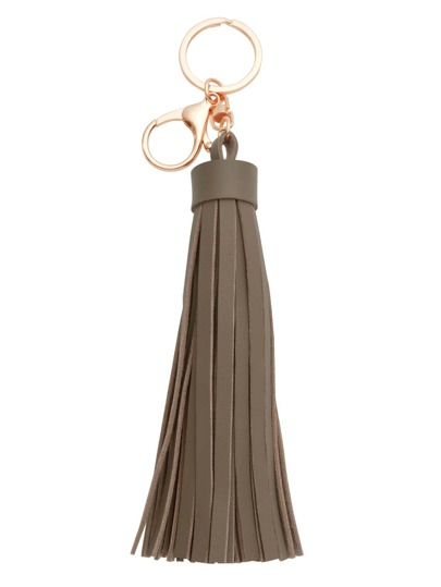 Khaki Faux Leather Tassel Keychain