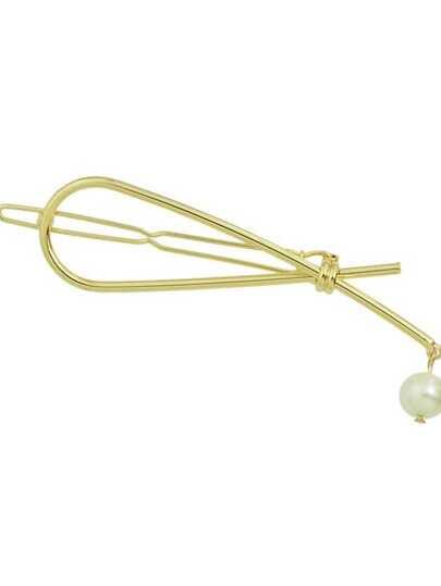Clip Di Capelli Con Perline Imitate Di Metallo - Oro