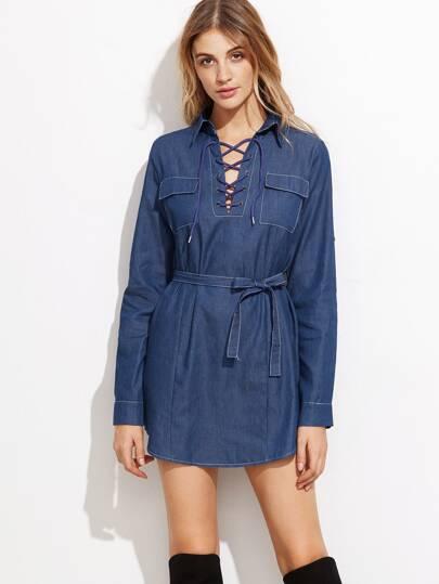Blue Lace Up Self Tie Denim Shirt Dress