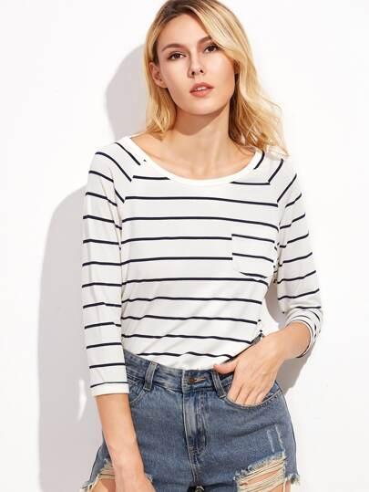 T-shirt à rayure manche raglan - blanc