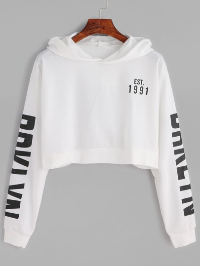 White Letter Print Crop Hooded Sweatshirt