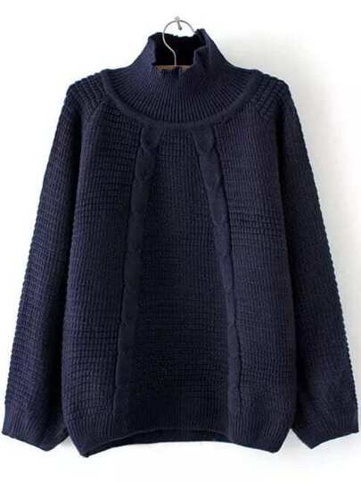 Navy Turtleneck Raglan Sleeve Sweater